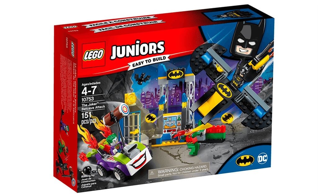 Відважному Бетмену необхідна твоя допомога! Розпакуйте набір ЛЕГО 10753, побудуй таємну печеру - притулок супергероя і почни обороняти її від атаки лиходія Джокера, який під'їхав до неї на своєму суперкарі з вогненним вихлопом і ось-ось почне кидати зв'язки динаміту в печеру!