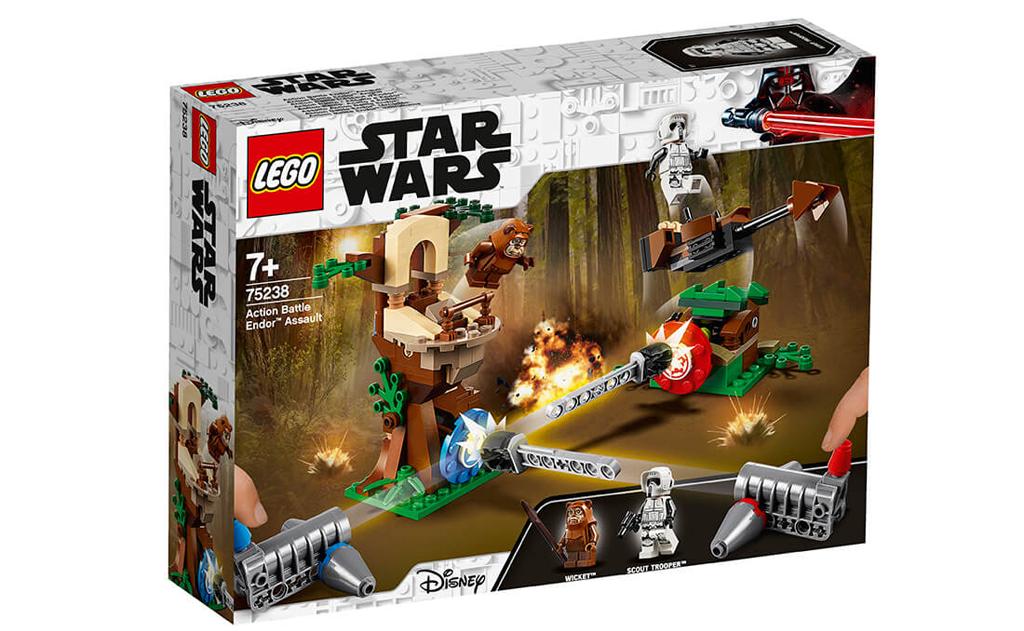 З конструктором LEGO 75238 «Напад на планету Ендор», будьте готові до дії, коли суперники заряджають шутери і намагаються вразити цілі один одного, щоб послати летить Евока або змусити розвідника звалитися з бази на його мотоциклетному Спідер.