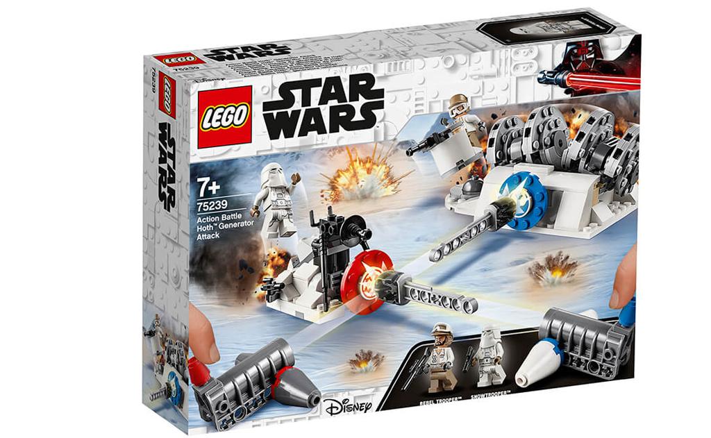 Конструктор іграшка-стрілялка LEGO 75239 «Руйнування генераторів на Хоте». Дітям сподобається будувати генератор енергії з солдатом повстанцем і штативне зброю зі сніговим штурмовиком з фільму «Зоряні війни: Імперія завдає удару у відповідь» зі своїми друзями і сім'єю, заряджати потужних шутерів і вступати в захоплюючі битви, намагаючись вразити ціль один одного і відправити все літати!