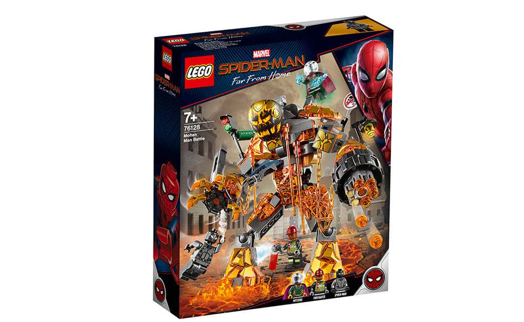 Конструктор LEGO 76128 «Битва з розплавленим людиною». Лавовий гігант виліз з асфальту перехрестя (який назвали «Кратор Роут»), увібрав в себе світлофор, дорожній знак і бампер машини.