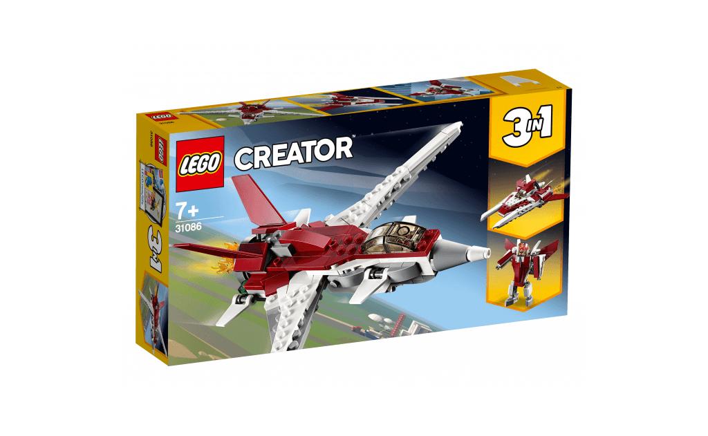 Вирушай назустріч пригодам в повітрі на футуристичному винищувач майбутнього зі значним корпусом, розфарбованим у темно-червоний і білий кольори, крилами зі зворотним стреловидностью, тонованого кабіною пілота і реактивним двигуном, з якого виривається полум'я!