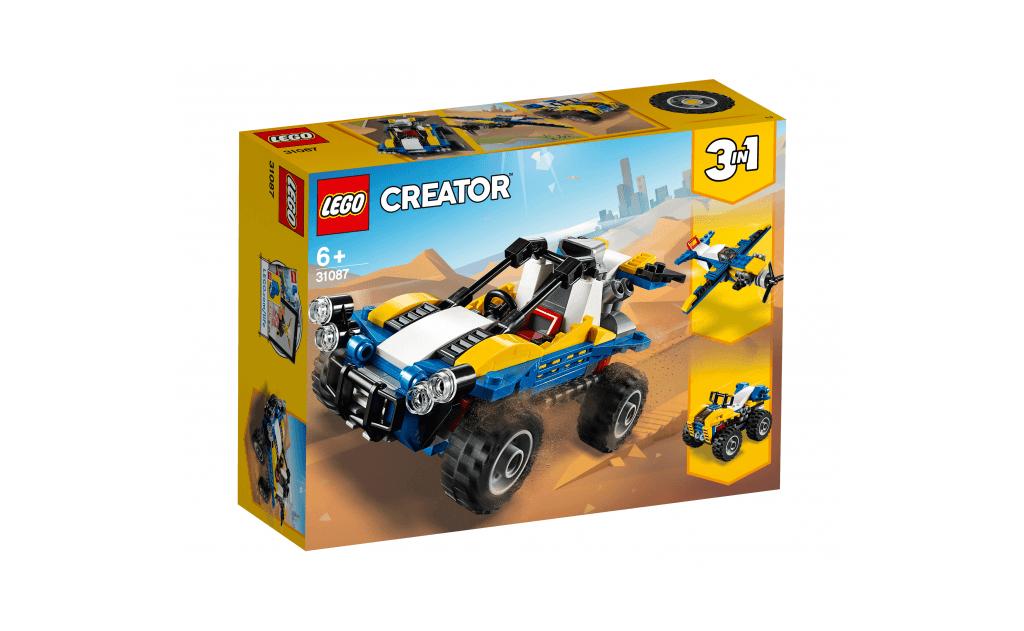 Вирушай в захоплюючу поїздку по піщаних дюнах на крутому пустелі баггі з серії LEGO® Creator 3 в 1, оснащеному потужними шинами, передніми фарами-прожекторами, двигуном, встановленим ззаду, воздуховодом, великими задніми керованими колесами і масивною вихлопною трубою!