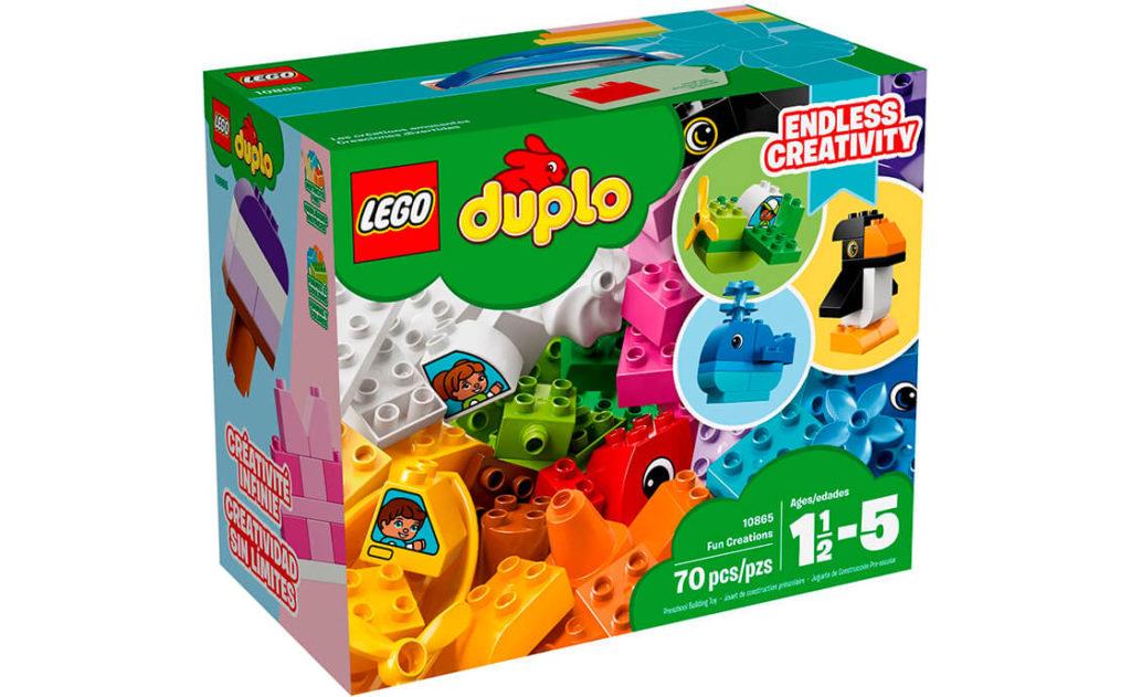 Пробудіть безмежну фантазію із цим великим набором барвистих кубиків LEGO® DUPLO®! Будуйте веселкові моделі, як-от кита, пінгвіна, маленький човен або літак.