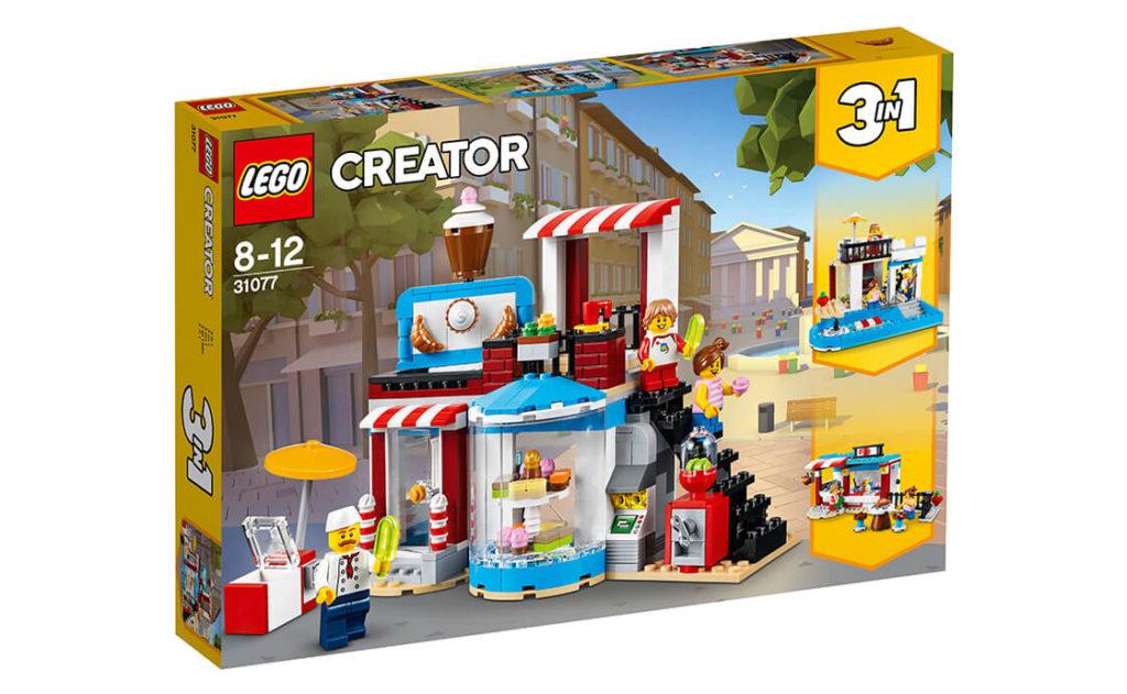 Відкрийте власний затишний кондитерський магазин LEGO® з яскравим фасадом, прикрашеним трьома маркізами в червону й білу смужку та оригінальною вивіскою з тортом!