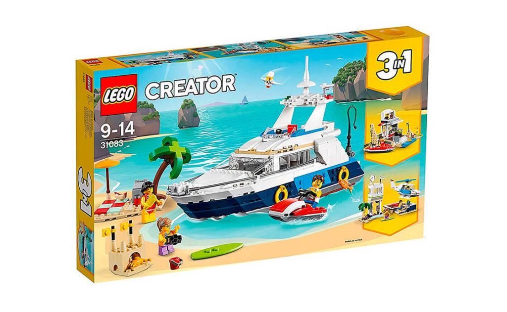 Насолоджуйся сонцем та відпочинком на борту шикарної яхти разом із набором 3в1 «Пригоди в круїзі» серії LEGO® Creator (31083). Комфортабельна яхта повністю оснащена, каюта має все необхідне, є навіть туалет.