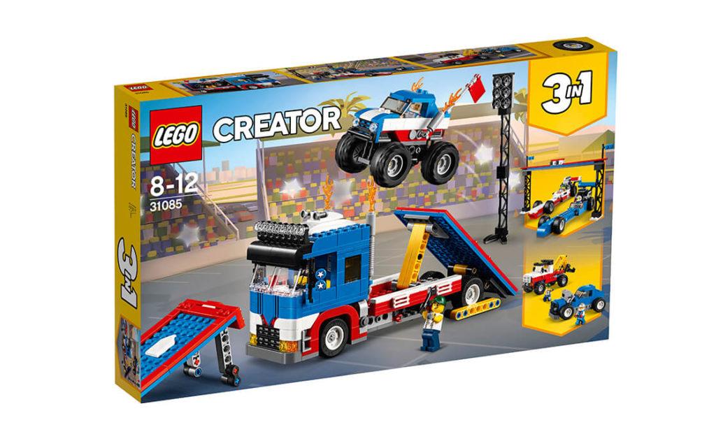 Вантажся у крутий транспортер і прямуй до міста з дивовижним набором 3в1 «Шоу каскадерів» серії LEGO® Creator (31085)!